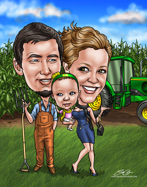 Caricature of couple in cornfield holding baby.