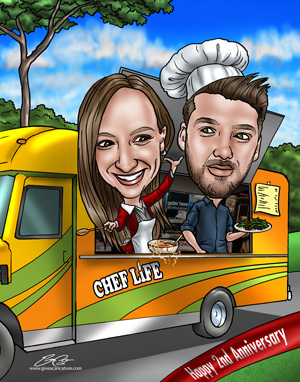 Caricature of couple in food truck