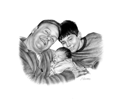 Pencil sketch of dad with son and new baby