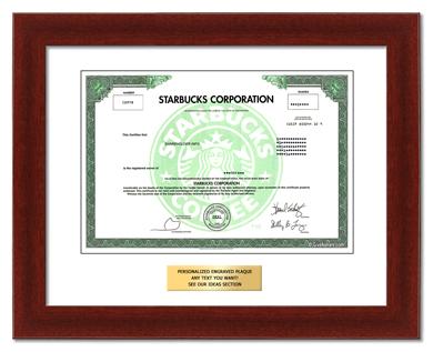 Framed share of starbucks stock.
